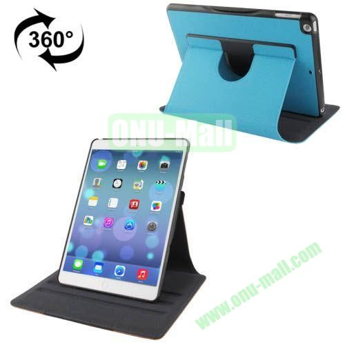 360 Degree Rotation Denim Texture Leather Case for iPad Air with 3 Gears Holder & Sleep  Wake-up Function (Blue)