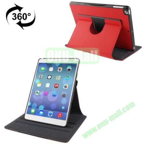 360 Degree Rotation Denim Texture Leather Case for iPad Air with 3 Gears Holder & Sleep  Wake-up Function (Red)