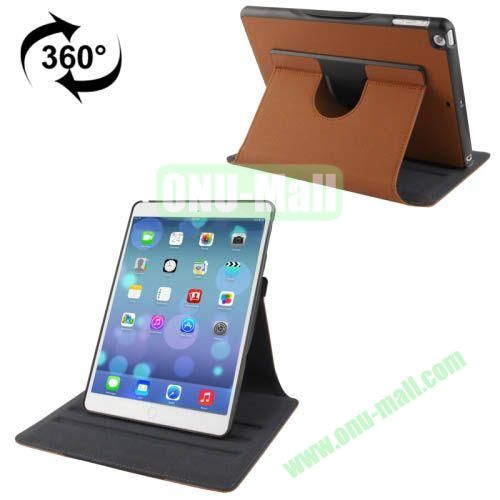 360 Degree Rotation Denim Texture Leather Case for iPad Air with 3 Gears Holder & Sleep  Wake-up Function (Brown)