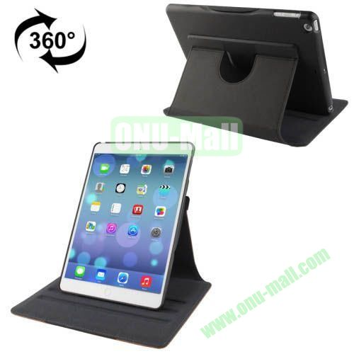 360 Degree Rotation Denim Texture Leather Case for iPad Air with 3 Gears Holder & Sleep  Wake-up Function (Black)