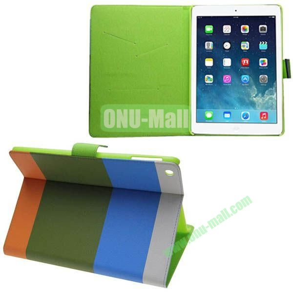 Mixed Color Leather Case for iPad Air with Holder (Blue+Green+Orange)