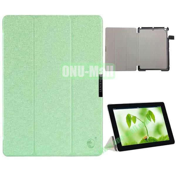 3-folding Silk Texture Flip Stand Leather Case for iPad Air with Wake UpSleep Function (Green)