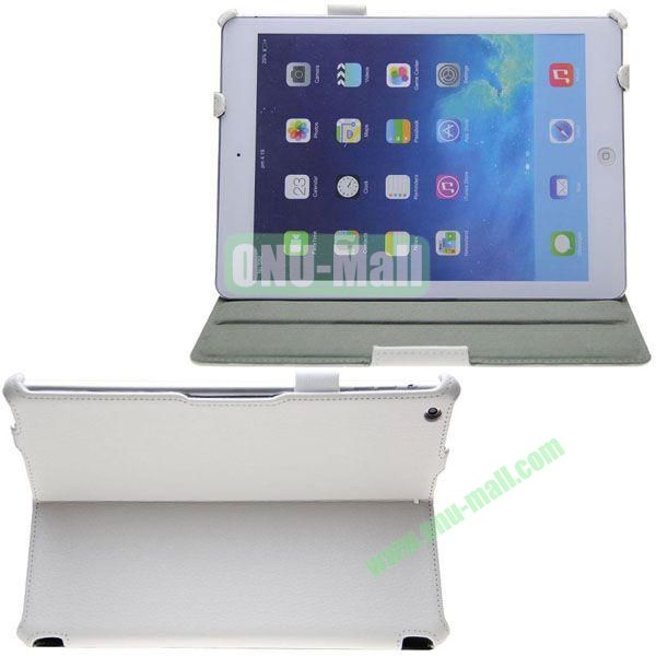 Litchi Texture Flip Stand Leather Case for iPad Air with Wake UpSleep Function and Armband Belt (White)
