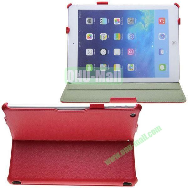 Litchi Texture Flip Stand Leather Case for iPad Air with Wake UpSleep Function and Armband Belt (Red)