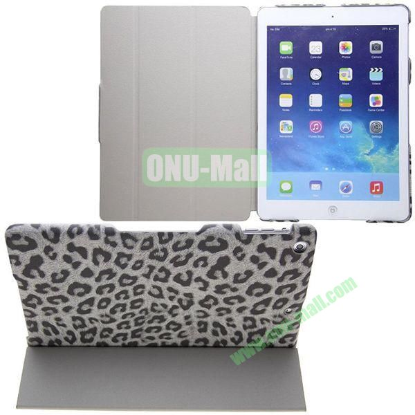 Leopard Grain Pattern Flip Stand Leather Case for iPad Air with Wake UpSleep Function (Grey)