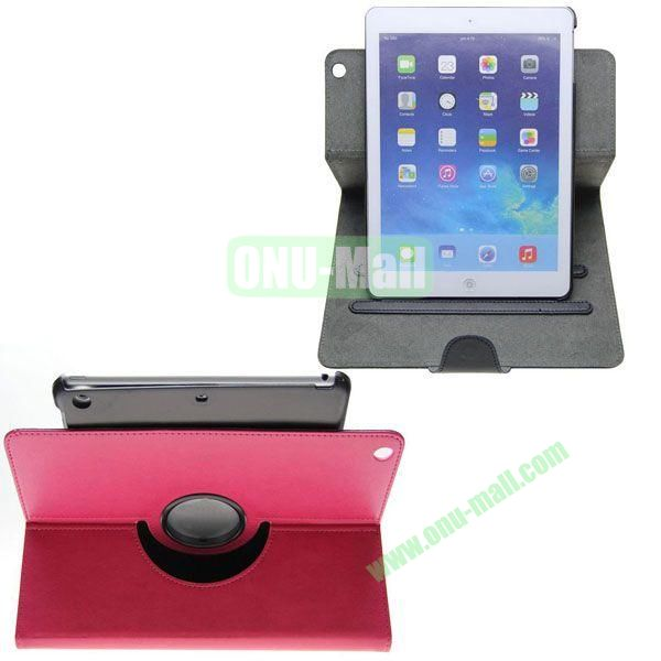 360 Degree Rotation Crazy Horse Texture Leather Case with 2 Gears Holder and Buckle for iPad Air (Rose)