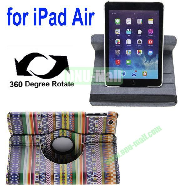 360 Degrees Rotate Tribe Pattern Leahter Case for iPad Air with 2 Gears