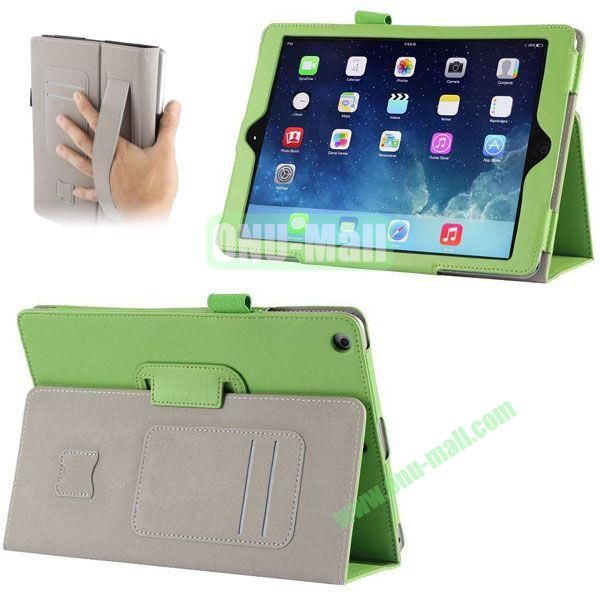 Crazy Horse Texture Leather Case with Card Slots and Holder &  Armband for iPad Air (Green)