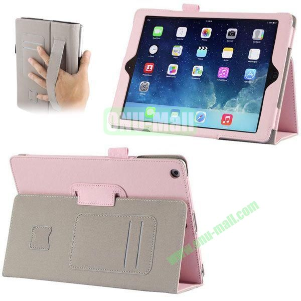 Crazy Horse Texture Leather Case with Card Slots and Holder &  Armband for iPad Air (Pink)