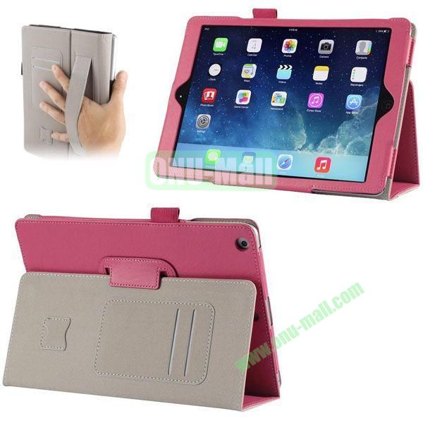 Crazy Horse Texture Leather Case with Card Slots and Holder &  Armband for iPad Air (Rose)