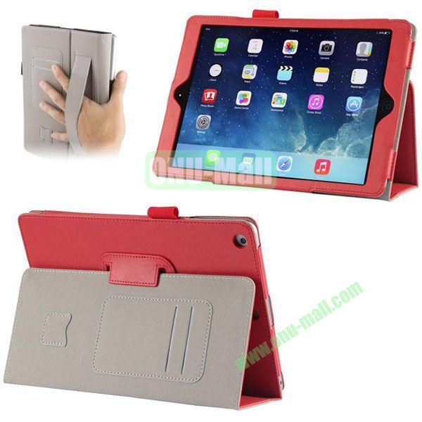 Crazy Horse Texture Leather Case with Card Slots and Holder &  Armband for iPad Air (Red)