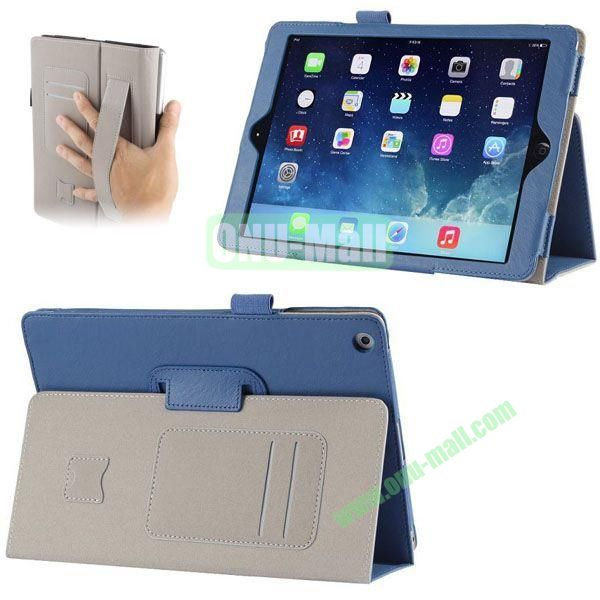 Crazy Horse Texture Leather Case with Card Slots and Holder &  Armband for iPad Air (Blue)