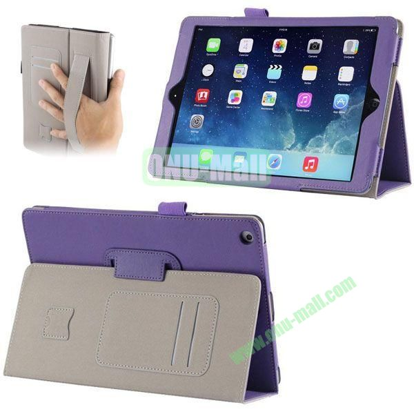 Crazy Horse Texture Leather Case with Card Slots and Holder &  Armband for iPad Air (Purple)