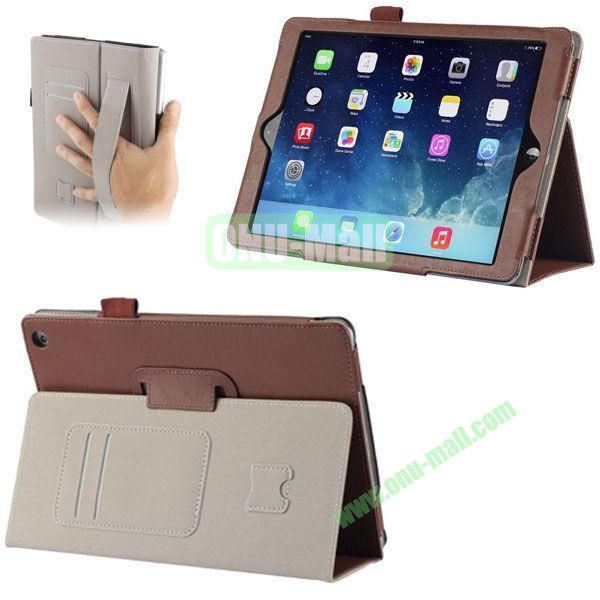 Crazy Horse Texture Leather Case with Card Slots and Holder &  Armband for iPad Air (Brown)