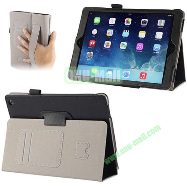 Crazy Horse Texture Leather Case with Card Slots and Holder &  Armband for iPad Air (Black)