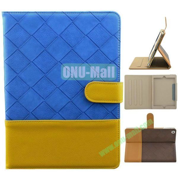 Double Color Diamond Pattern Leather Case for iPad Air with Holder and 3 Gears (Blue+Yellow)