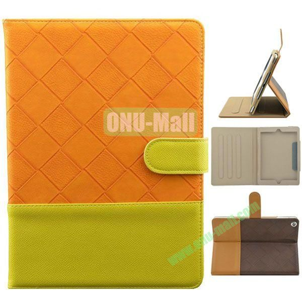 Double Color Diamond Pattern Leather Case for iPad Air with Holder and 3 Gears (Green+Orange)