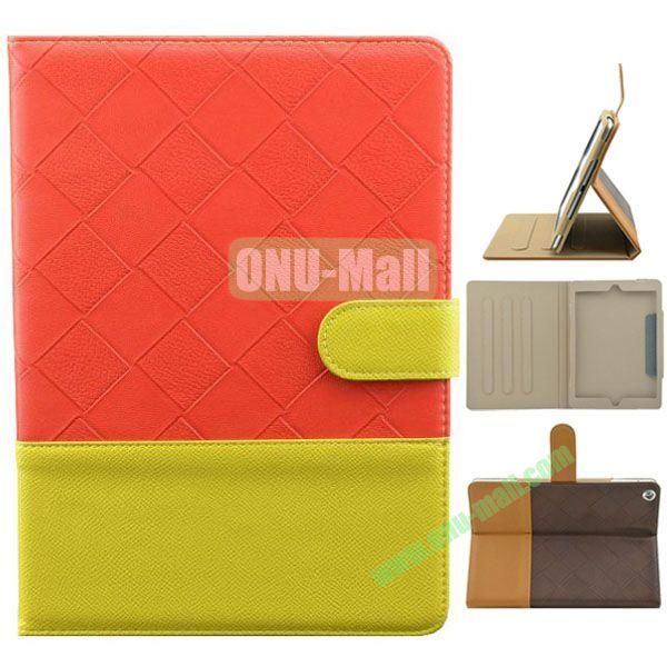Double Color Diamond Pattern Leather Case for iPad Air with Holder and 3 Gears (Red+Yellow)