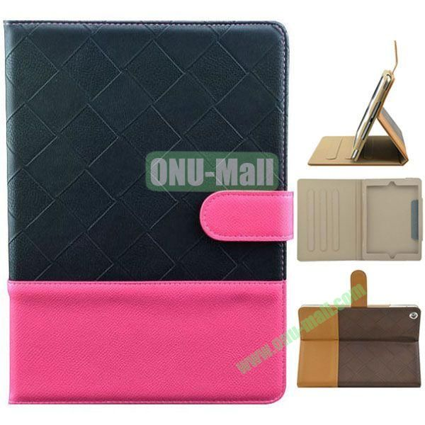 Double Color Diamond Pattern Leather Case for iPad Air with Holder and 3 Gears (Black+Rose)