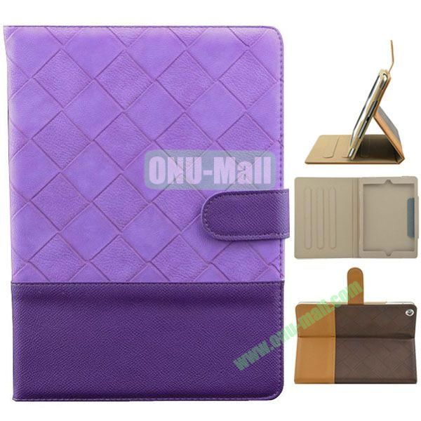 Double Color Diamond Pattern Leather Case for iPad Air with Holder and 3 Gears (Purple)