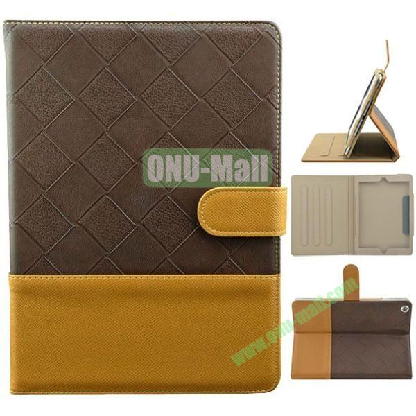 Double Color Diamond Pattern Leather Case for iPad Air with Holder and 3 Gears (Brown+Yellow)