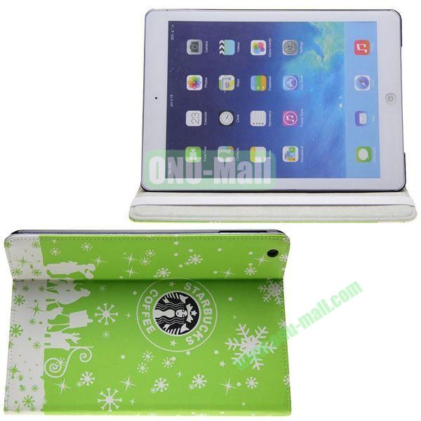 Starbucks Pattern Leather Case with 3 Gears Holder for iPad Air (Light Green)