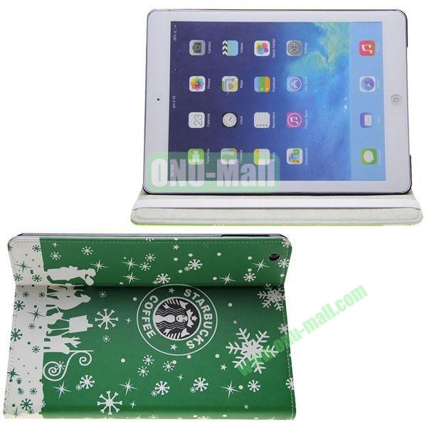 Starbucks Pattern Leather Case with 3 Gears Holder for iPad Air (Green)