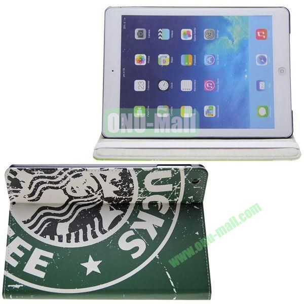 Starbucks Pattern Leather Case with 3 Gears Holder for iPad Air (Dark Green)
