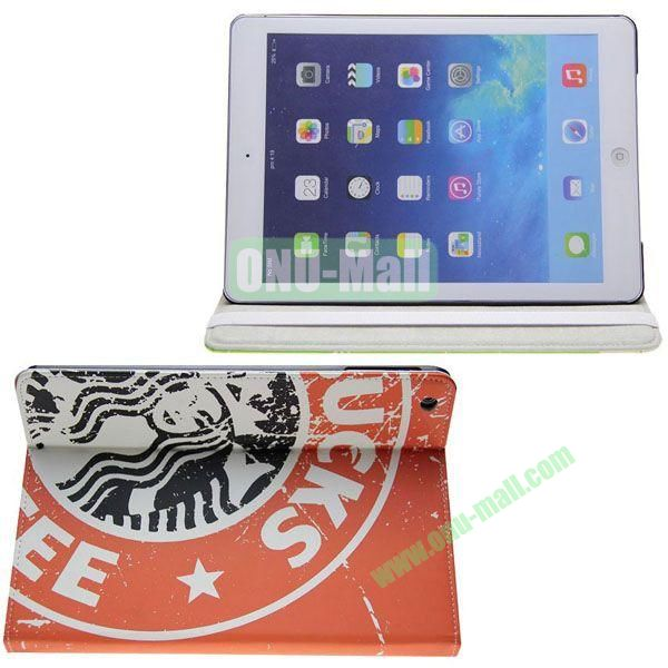 Starbucks Pattern Leather Case with 3 Gears Holder for iPad Air (Orange)