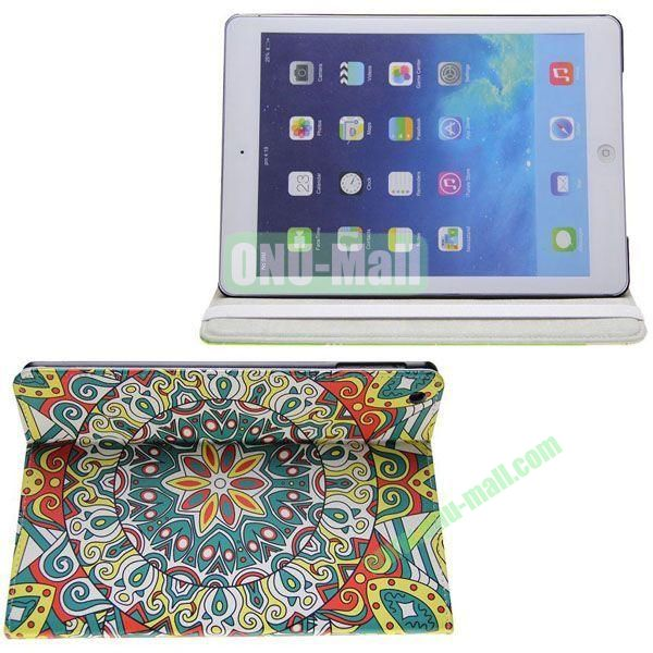 Starbucks Pattern Leather Case with 3 Gears Holder for iPad Air (Multicolor)
