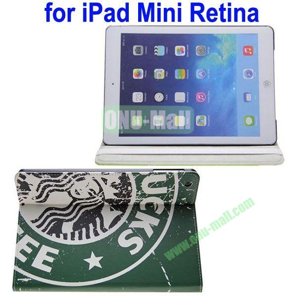 Starbucks Pattern Leather Case with 3 Gears Holder for iPad MiniMini RetinaiPad Mini 3 (Dark Green)