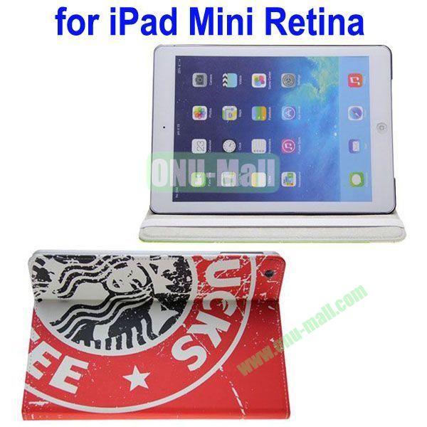 Starbucks Pattern Leather Case with 3 Gears Holder for iPad MiniMini RetinaiPad Mini 3 (Red)