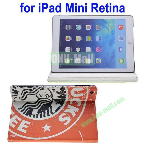 Starbucks Pattern Leather Case with 3 Gears Holder for iPad MiniMini RetinaiPad Mini 3 (Orange)