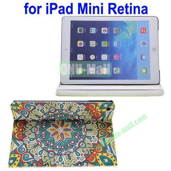 Starbucks Pattern Leather Case with 3 Gears Holder for iPad MiniMini RetinaiPad Mini 3 (Multicolor)