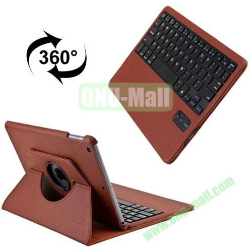 360 Degree Rotation Detachable Bluetooth Keyboard Leather Case for iPad Air with 3 Gears Holder (Brown)