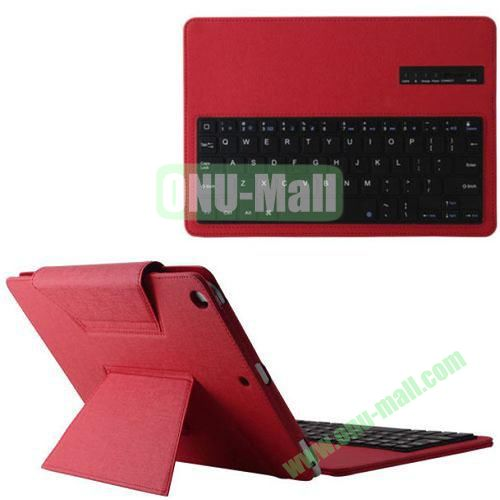 Detachable Bluetooth Keyboard Leather Case for iPad Air with Holder (Red)