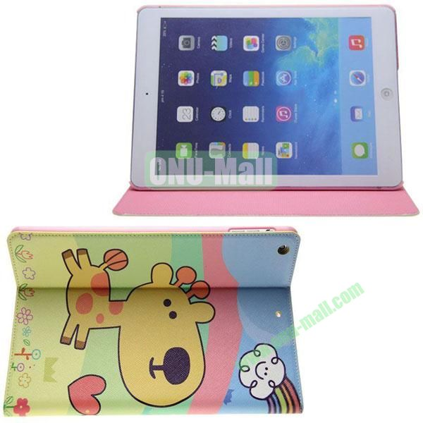 Cartoon Pattern Leather Case for iPad Air with Holder