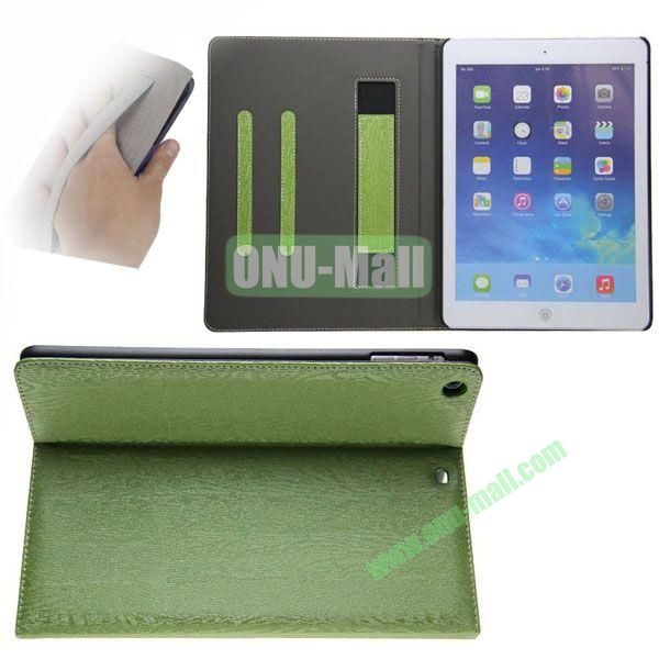 Double Color Canvas Texture Leather Case for iPad Air with 3 Gears Holder (White+Green)