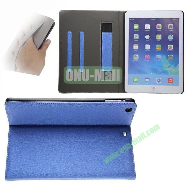 Double Color Canvas Texture Leather Case for iPad Air with 3 Gears Holder (White+Blue)
