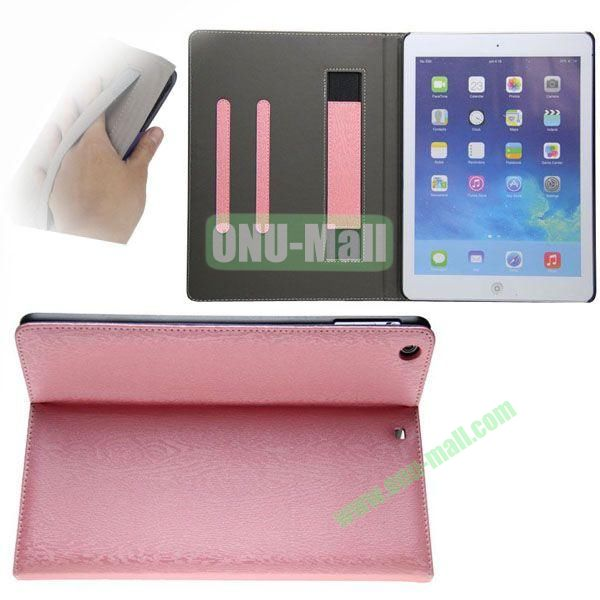 Double Color Canvas Texture Leather Case for iPad Air with 3 Gears Holder (White+Pink)