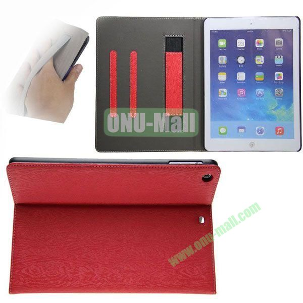 Double Color Canvas Texture Leather Case for iPad Air with 3 Gears Holder (White+Red)