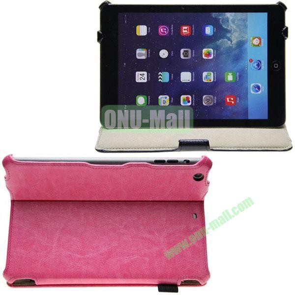 Crazy Horse Texture Leather Case for iPad Mini Retina  iPad Mini 3 with 2 Gears + Card Pocket and Armband (Rose)