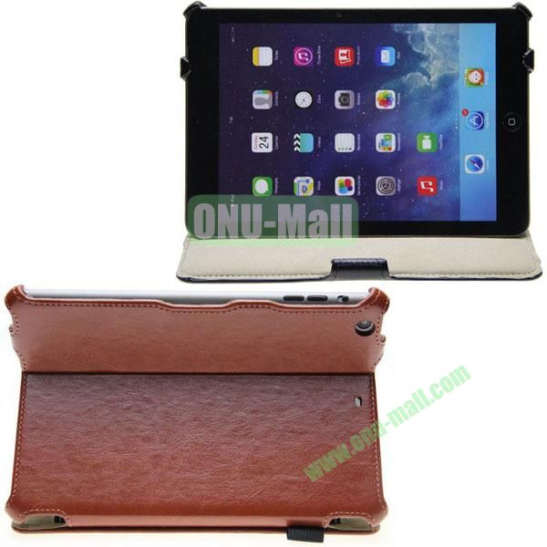 Crazy Horse Texture Leather Case for iPad Mini Retina  iPad Mini 3 with 2 Gears + Card Pocket and Armband (Brown)