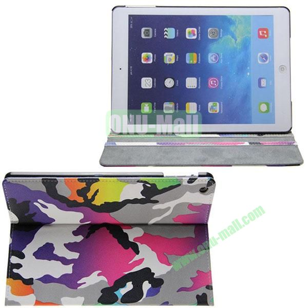 Camouflage Pattern Leather Case for iPad Air with 3 Gears