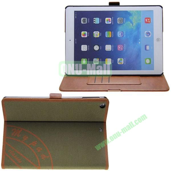 Retro Style Canvas Texture Leather Case for iPad Air with Card Slots and 2 Gears Holder (Green)