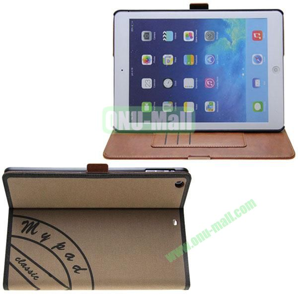 Retro Style Canvas Texture Leather Case for iPad Air with Card Slots and 2 Gears Holder (Brown)