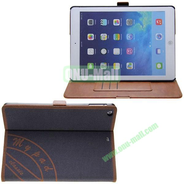 Retro Style Canvas Texture Leather Case for iPad Air with Card Slots and 2 Gears Holder (Dark Blue)