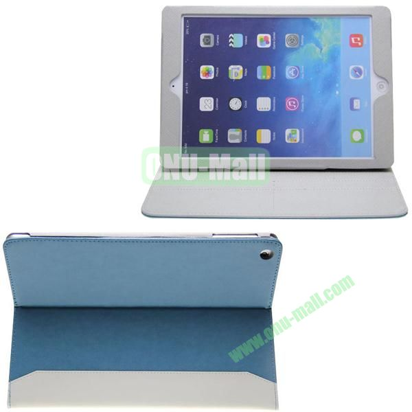 Double Color Hermes Leather Case for iPad Air with Card Slots and Holder (Blue+White)