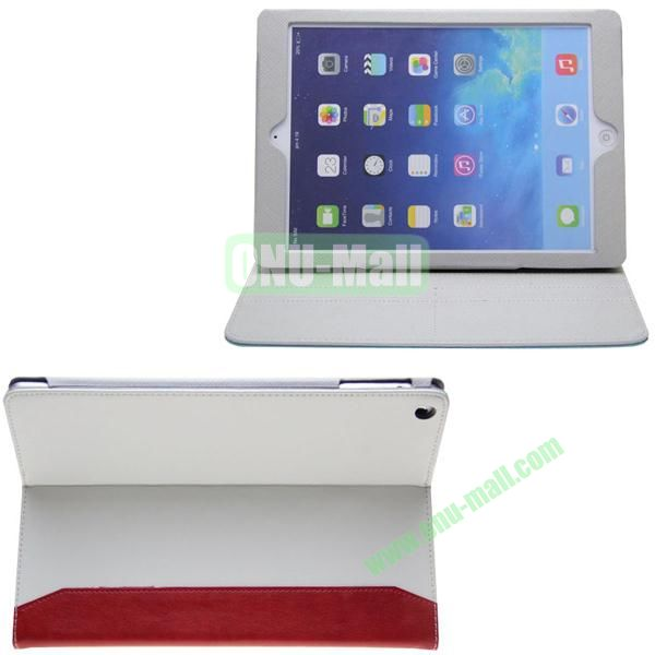 Double Color Hermes Leather Case for iPad Air with Card Slots and Holder (White+Red)
