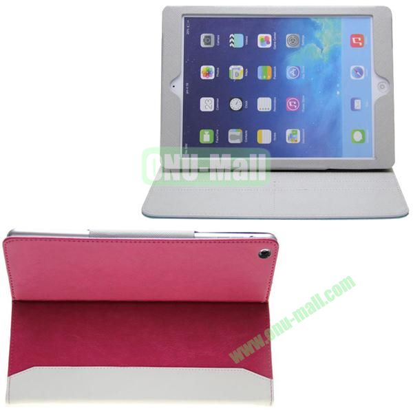 Double Color Hermes Leather Case for iPad Air with Card Slots and Holder (Rose+White)